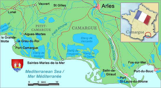 Map showing the Camargue