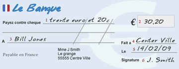 writing out a French cheque