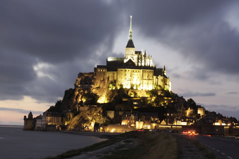 Mont St Michel lit up at night