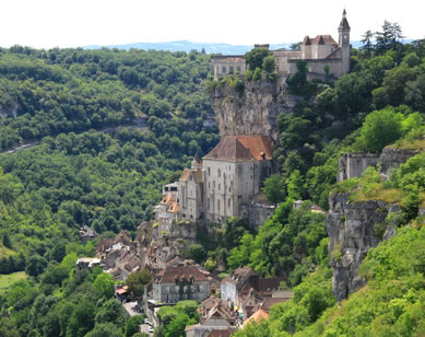 Rocamadour clings precariously to the hillside