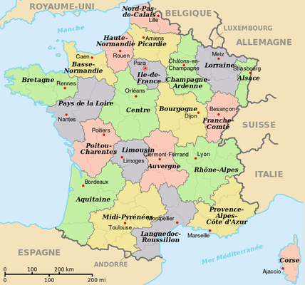 List of French Administrative Departments by Region